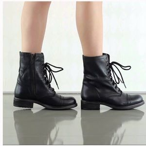 Steve Madden Troopa Leather Combat Boots Black 7.5